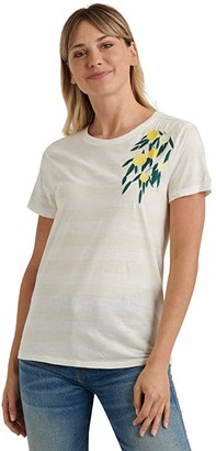 Lucky Brand Short Sleeve Crew Neck Embroidered Lemon Tee (Oatmeal Heather) Women's Clothing