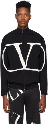 Valentino Black VLogo Zip-Up Sweater