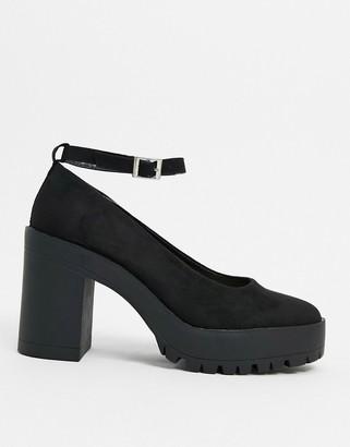 London Rebel chunky platform shoes in black