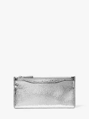Large Crackled Metallic Leather Card Case