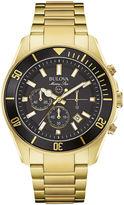 Bulova Marine Star Mens Gold-Tone Stainless Steel Watch 98B250