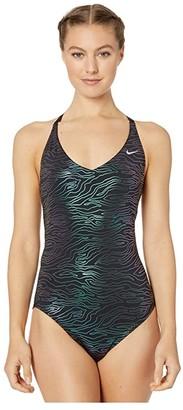 Nike Geo Onyx Cross-Back One-Piece (Black) Women's Swimsuits One Piece