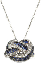 LeVian Suzy Diamonds Suzy 18K & Silver 2.93 Ct. Tw. Sapphire Love Knot Necklace