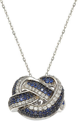 LeVian Suzy Diamonds Suzy 18K & Silver 2.93 Ct. Tw. Sapphire Love Knot Necklace