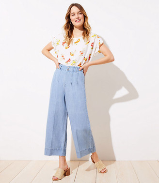 LOFT High Waist Wide Leg Crop Jeans in Light Indigo Wash
