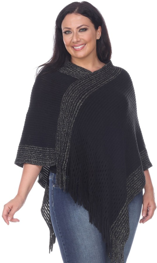 873b38539d Black And White Poncho - ShopStyle