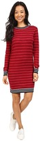 Lacoste Long Sleeve Striped Double Face Wool Dress