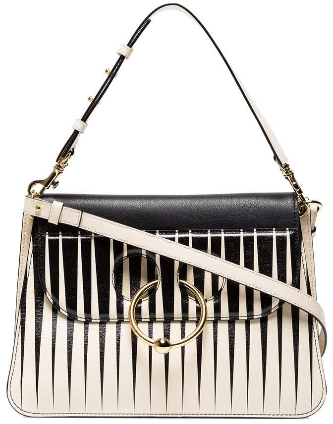 J.W.Anderson monochrome striped Pierce medium shoulder bag