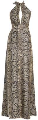 Victoria Beckham Snake-Print Silk Halter Gown