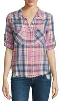 Bella Dahl Frayed Hem Plaid Shirt