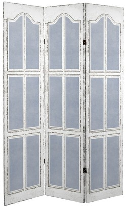 Oriental Furniture Handmade 6' Canvas Blue and White Shutters Room Divider