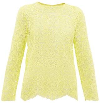 Marques Almeida Marques'almeida - Scalloped-hem Lace Top - Womens - Yellow