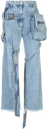 Natasha Zinko buckled wide-leg denim jeans