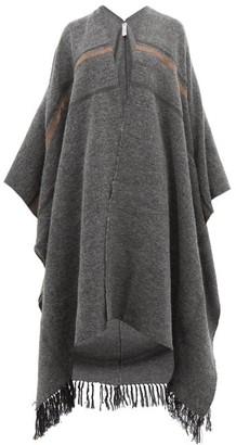 Brunello Cucinelli Oversized Cashmere, Mohair And Alpaca-blend Poncho - Grey Multi