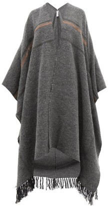 Brunello Cucinelli Oversized Cashmere, Mohair And Alpaca Blend Poncho - Womens - Grey Multi