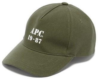 A.P.C. Logo-print Cotton-canvas Cap - Khaki