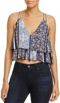 Olivaceous Printed Tiered Cropped Top