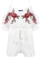 Quiz White And Red Embroidered Cold Shoulder Playsuit