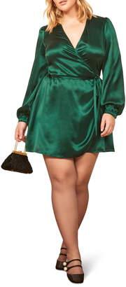 Reformation Starlight Long Sleeve Silk Wrap Dress