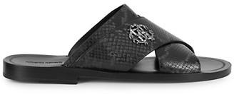 Roberto Cavalli Leather Crisscross Slides