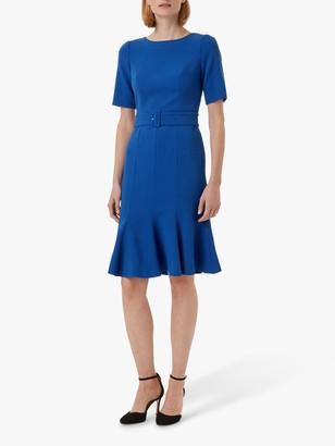 Hobbs Bria Ruffle Trim Dress, Cobalt