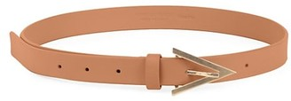 Bottega Veneta Triangular Buckle Skinny Leather Belt