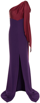 Alexander McQueen One-shoulder Bow-embellished Satin And Crepe Gown