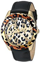 GUESS Women's U0455L2 Iconic Black Patent Watch with Gold-Tone Animal Print