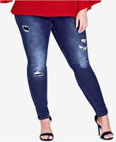 City Chic Trendy Plus Size Harley Ripped Jeggings