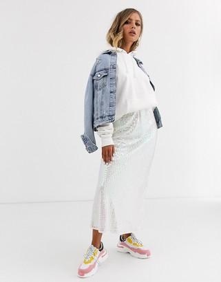 Asos Design DESIGN iridescent sequin midi slip skirt-White