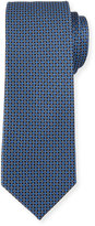 Neiman Marcus Micro Geo-Print Silk Tie, Black/Royal