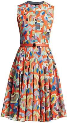 Akris Sleeveless Printed Fit-&-Flare Dress