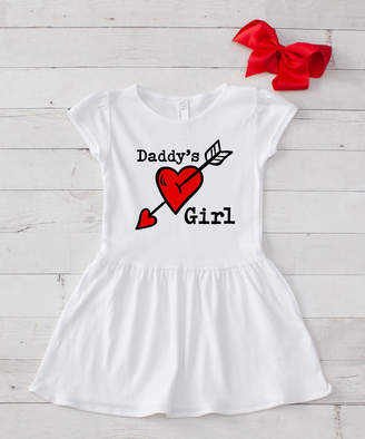 Dress Up Dreams Boutique Girls' Casual Dresses White/Pink - White & Red 'Daddy's Girl' A-Line Dress - Infant & Toddler