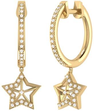 Lucky Star Hoop Earrings In 14 Kt Yellow Gold Vermeil On Sterling Silver