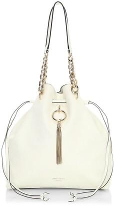 Jimmy Choo Callie Tassel Drawstring Leather Hobo Bag