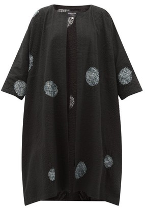 eskandar Scattered Disc Shibori-dyed Cotton Jacket - Black White