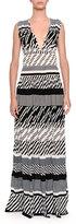Tomas Maier Striped Knit V-Neck Maxi Dress