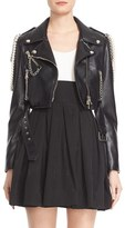Moschino Chain & Faux Pearl Embellished Faux Leather Jacket