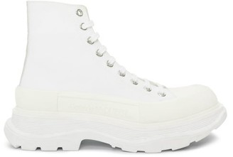 Alexander McQueen Tread Slick Exaggerated-sole Canvas Boots - White