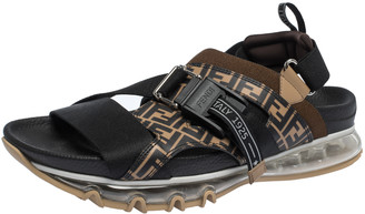 Fendi Black/Brown Zucca Leather and Elastic Band Running Sandals Size 41