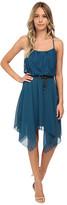Gabriella Rocha Lace/Chiffon Belted Hanky Hem Dress