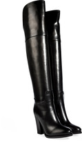 Ralph Lauren Polished Leather Over-The-Knee Boots in Black