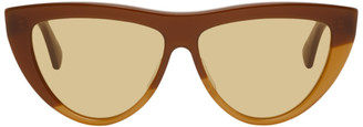 Bottega Veneta Brown and Beige Half Circle Sunglasses