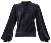 Ganni Metallic-stripe Cotton-blend Velour Top - Womens - Navy