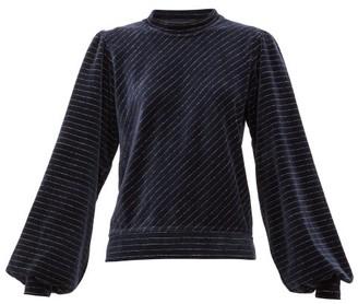 Ganni Metallic-stripe Cotton-blend Velour Top - Womens - Navy