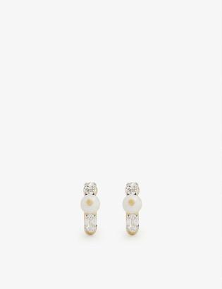 Simone Rocha Pearl and crystal stud mini hoop earrings