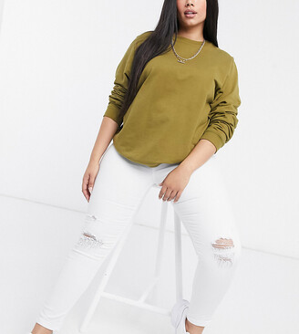 Yours ripped knee superstretch skinny jeans in white
