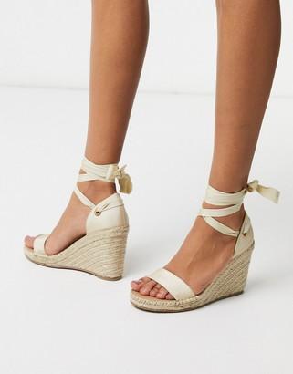 ASOS DESIGN Treat tie leg espadrille wedge sandals in natural