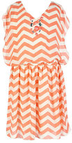 Xtraordinary 7-16 Beaded-Neck Chevron-Print Blouson Dress