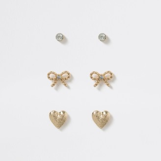 River Island Gold tone heart and bow earring multi pack